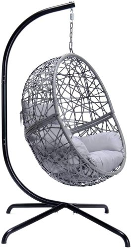 Indoor Outdoor Patio Wicker Hanging Egg Chair With Stand Swing Egg Basket Chairs With Cushions Aluminum Frame 350lbs Capaticy For Patio Backyard Balcony Bedroom (Gray Large Size)