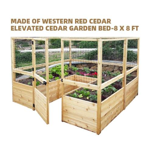 MADE OF WESTERN RED CEDAR, ELEVATED CEDAR GARDEN BED-8 X 8 FT