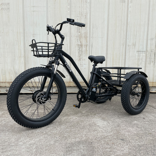 VTUVIA 24 inch electric trike fat tire 3 wheel Electric Tricycle three wheels adult cargo electric bike with basket