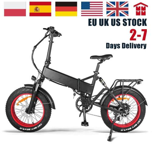 Electric Fat Bike 48V 750W Folding 20 Inch Snow Beach Ebike 17Ah LG Lithium Hidden Battery