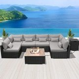 DINELI Patio Furniture Sectional Sofa with Gas Fire Pit Table Outdoor Patio Furniture Sets Propane Fire Pit (red-Square Table)