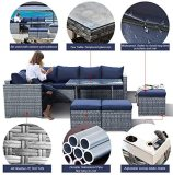 Outime 7 PCS Patio Furniture Outdoor Sectional Sofa All Weather PE Grey Rattan Wicker Conversation Set with Navy Blue Cushion Dining High Table Glass Top