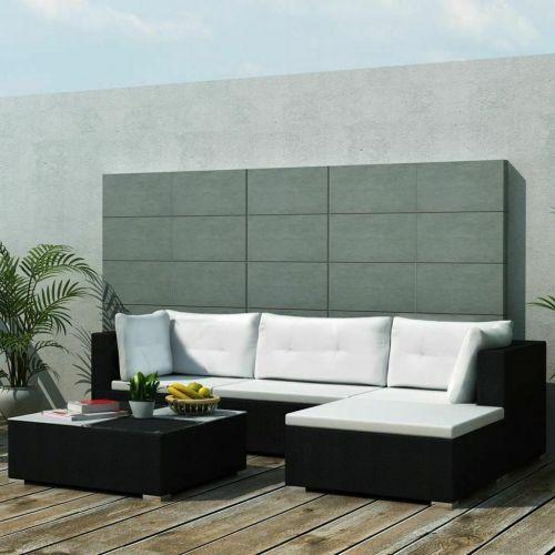 VidaXL Outdoor Sofa Set 14 Pieces Wicker Poly Rattan Black Garden Patio Lounge