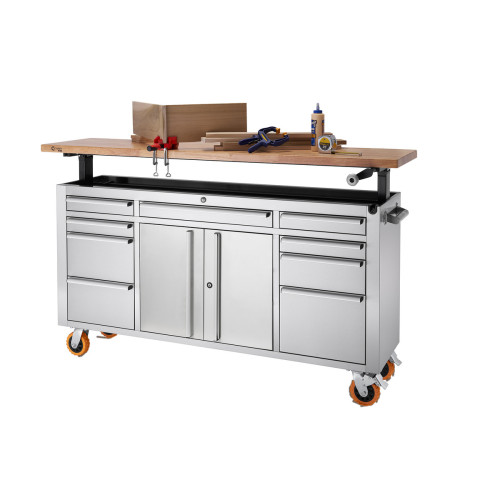 RINITY PRO   72x19   Stainless Steel Rolling Workbench   Adjustable Top