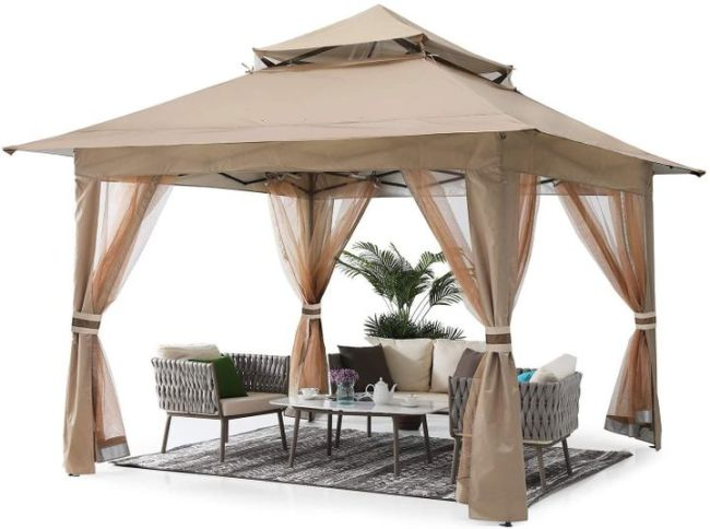 13'x13' Gazebo Tent Outdoor Pop up Gazebo Canopy Shelter with Mosquito Netting
