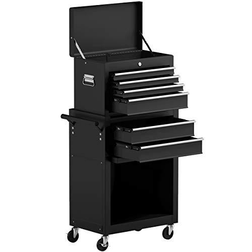 Goplus 6-Drawer Rolling Tool Chest Removable Tool Storage Cabinet with Sliding Drawers, Keyed Locking System Toolbox Organizer (Black)
