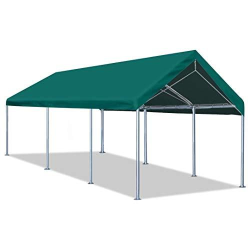 Quictent 10'x20' Carport Heavy Duty Car Canopy Galvanized Car Boat Shelter with Reinforced Steel Cables-Green
