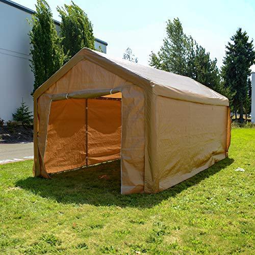 ALEKO CP1020BE Outdoor Event Carport Garage Canopy Tent Shelter Storage with Sidewalls 10 x 20 x 8.5 Feet Beige