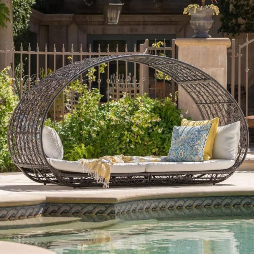 Outdoor Daybed with Cushions by Christopher Knight Home - Brown