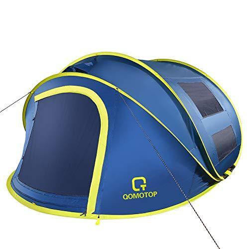 OT QOMOTOP 4 Person Pop up Tent, 9.5'X7'X50'', 10 Second Setup Tent, Waterproof Tent, 2 Big Doors and 2 Roof Vents, 4 Ventilated Mesh Windows, Instant Tent for Family