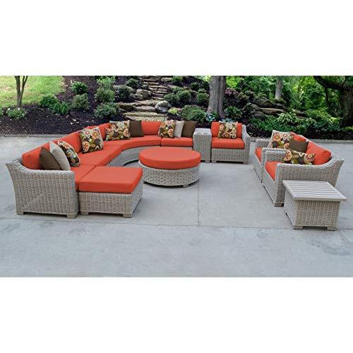 TK Classics COAST-12a-TANGERINE Coast 12 Piece Furniture Set 12a Outdoor Wicker Patio Sofas Loveseats and Sectionals, Tangerine