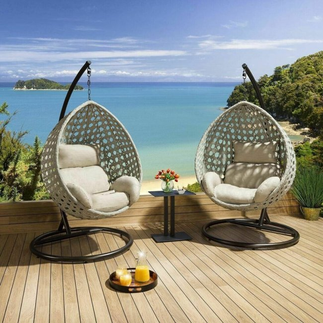Set of 2 New Luxury Extra Large Outdoor Hanging Pod Chairs Grey Rope Table