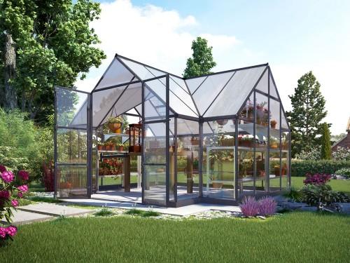 Four Season Chalet Hobby Greenhouse - 12 x 8 x 9 Charcoal Gray