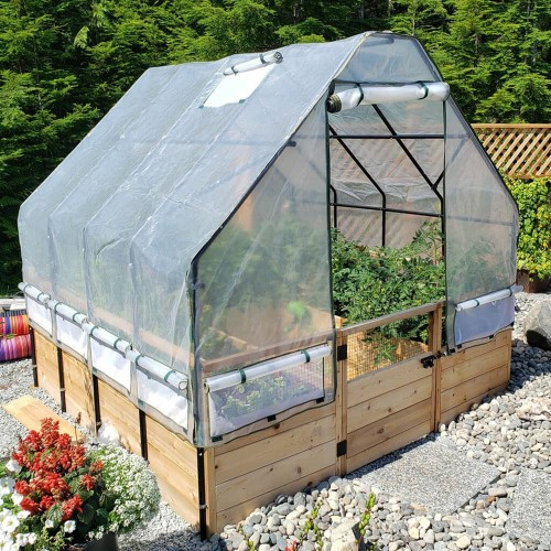 Cedar Complete Raised Garden Bed Kit with Greenhouse Cover 8' x 8'