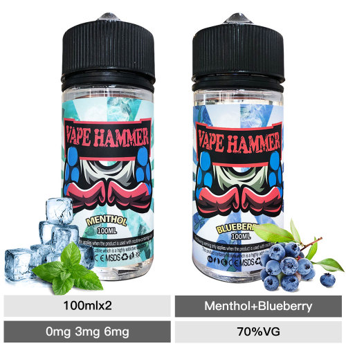 E-Liquid Pack 100ml*2 Blueberry & Menthol Vape Juice Bundle