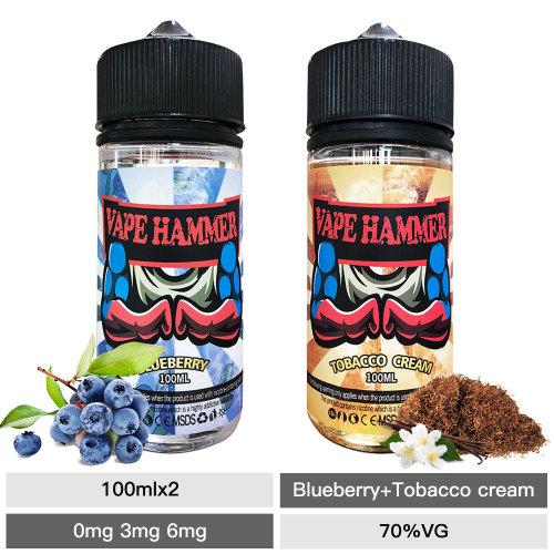 2x100ml E Vaping Liquid Pack Tobacco Cream & Blueberry Vape Juice