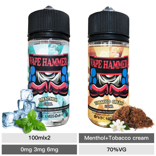 Hot Sale Vape Juice Cream Tobacco & Menthol E Liquid 100ml