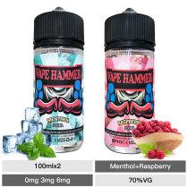 100ml raspberry & menthol e juice 2 pack e liquid bundle
