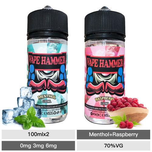Hot Vape Juice 100ml Raspberry & Menthol E Juice 2 Pack E Liquid