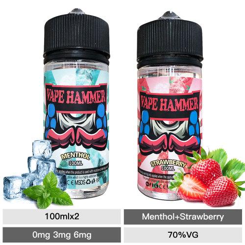 Vape Juice Bundle Pack Strawberry & Menthol Gift 100ml*2