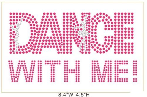 Dance with me hot fix rhinestone crystal jewelry heat transfer