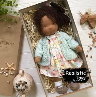 Waldorf Doll Winni , Waldorf Baby Dolls For Sale,  Handmade Black Dolls