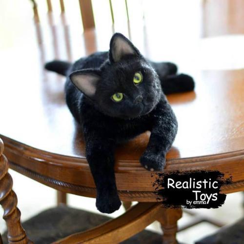 Emma Realistic Toys - Realistic & Lifelike Black Othello Cat  Sophie