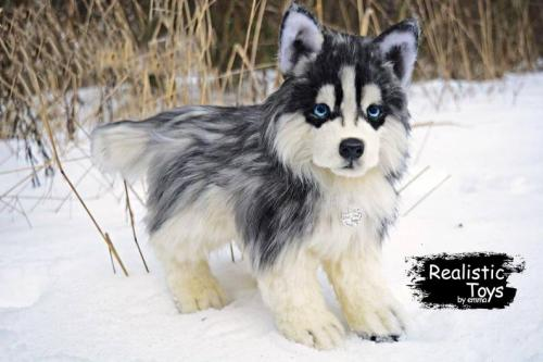 Emma Realistic Toys - Realistic & Lifelike Husky dog Dixie
