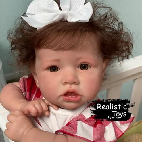 12''Little Cute Erica With Brown Hair and Eyes Reborn Baby Doll Girl, Lifelike Realistic Baby Doll