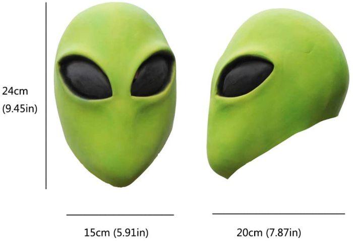 PartyHop Alien Head Mask, Latex Cool Green Alien Toys