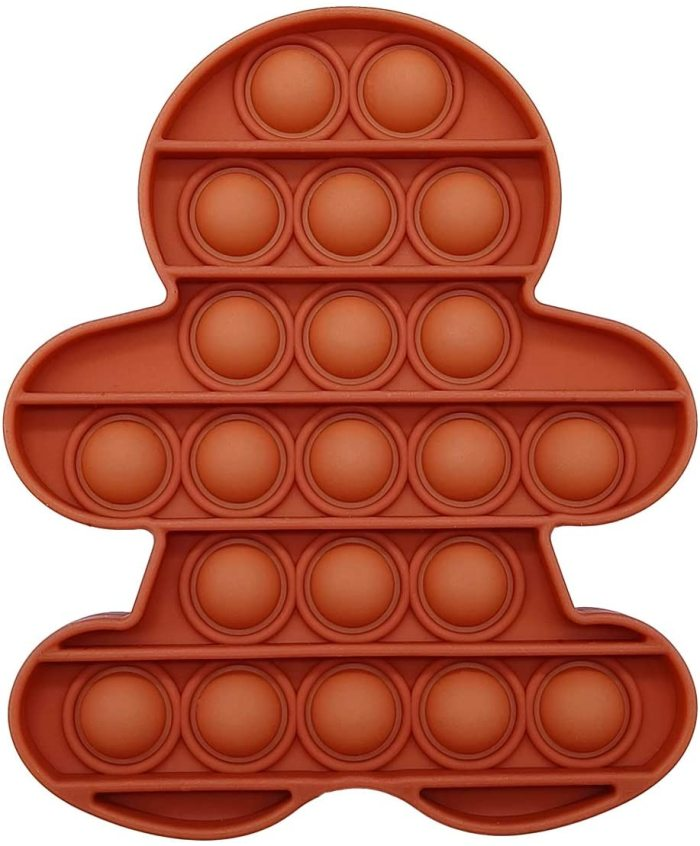 Pop That Fidget Toy Push Pop Bubble Squeeze Sensory Fidget Toy Pop Them All Game for Kids Adult Gingerbread Man Brown