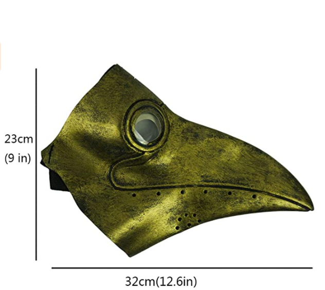 PartyHop Gold Rubber Plague Doctor Mask, Halloween Long Nose Bird Beek Steampunk Gas Latex Face Mask, Party Cosplay Costume Prop for Kids and Adult