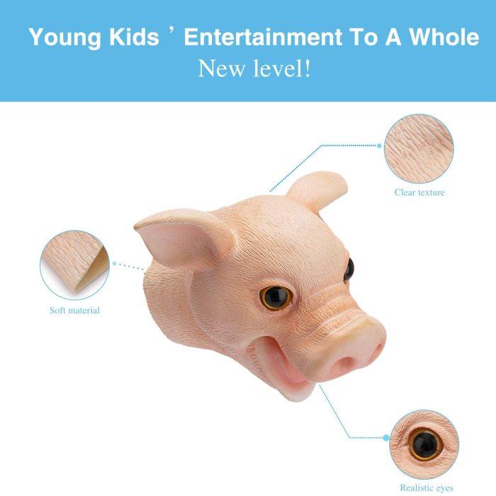 Yolococa Hand Puppet Toys Realistic Latex Animal Shark Instagram Children Toys (Cute Pig)