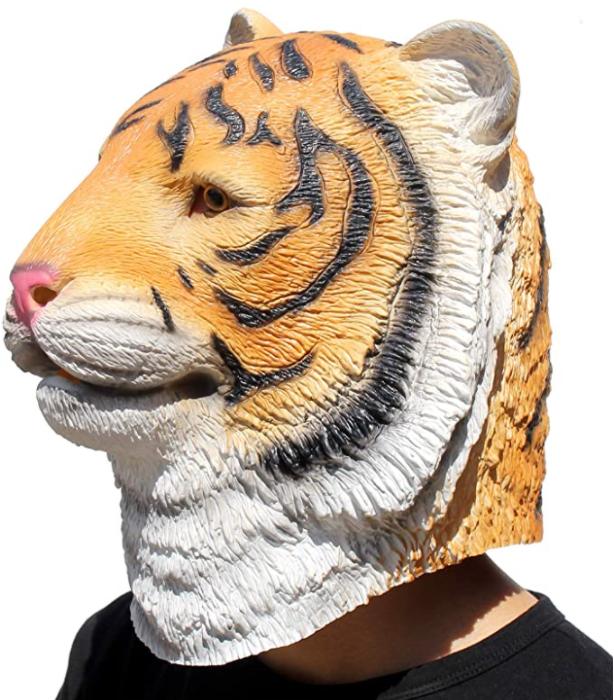 CreepyParty Novelty Halloween Costume Party Animal Jurassic Head Tiger Mask