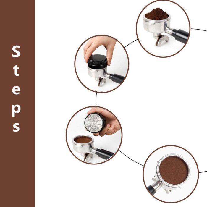 Yolococa Coffee Distributor 53mm Tamper Macaron Shape Espresso Distributor Stainless Steel Barista Coffee Supplies