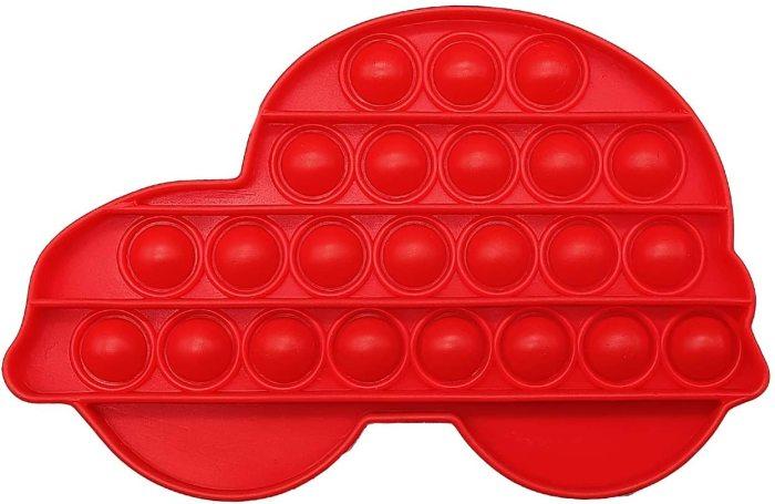 Pop That Fidget Toy Push Pop Bubble Squeeze Sensory Fidget Toy Pop Them All Game for Kids Adult Red Car