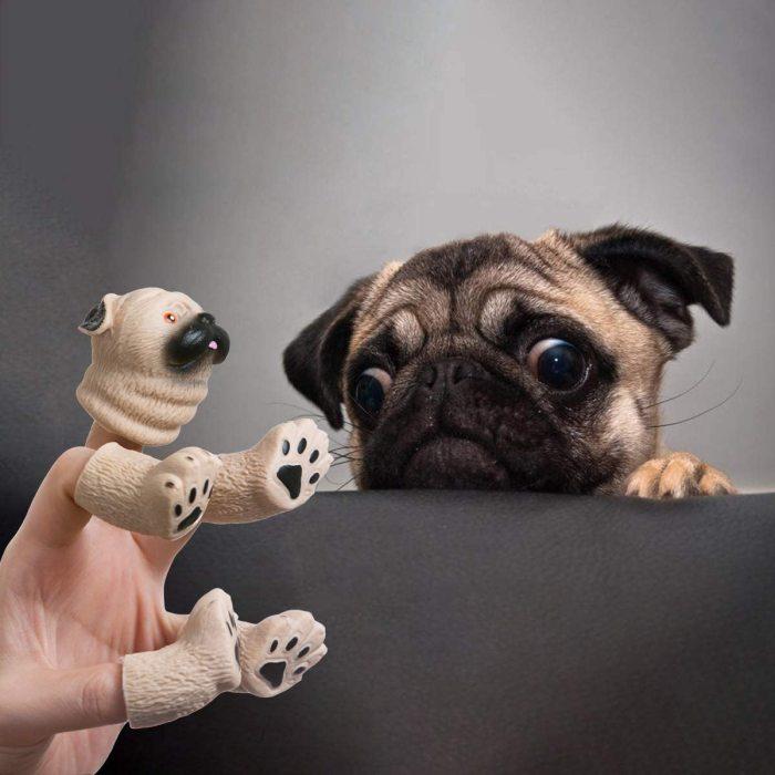 Ipearl Ipearl Pug Finger Hand Puppet Novelty Toys Finger Doll Props Animal Finger Puppet