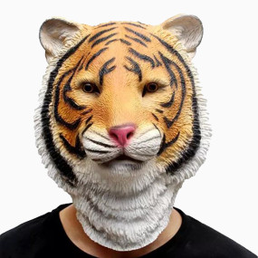 CreepyParty Novelty Halloween Costume Party Animal Jurassic Head Tiger Mask