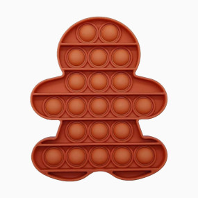 Pop That Fidget Toy Push Pop Bubble Squeeze Sensory Fidget Toy Pop Them All Game for Kids Adult Gingerbread Man Brown