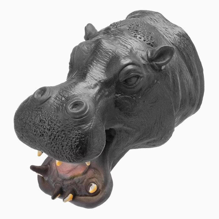 Yolococa Soft Natural Latex Rubber Animal Hand Puppet Set for Kids Role Play (Hippo)