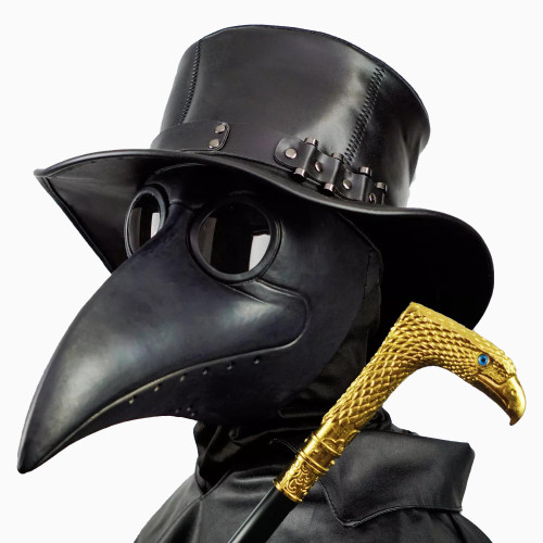PartyHop Plague Doctor Mask, Black Bird Beak Steampunk Gas Costume, for Kid and Adult