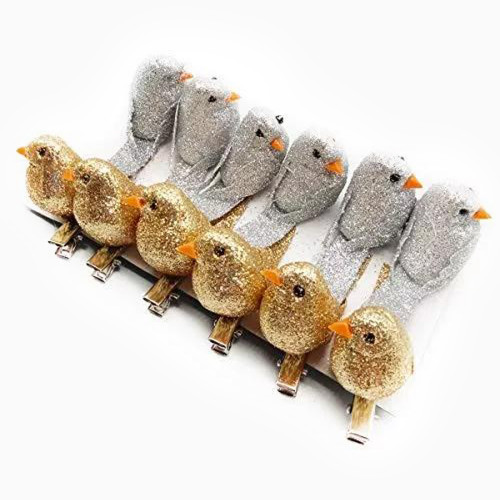 Yolococa Very Cute Artificial Feather Robin Bird Christmas Tree Decoration Craft 10 Pcs (Gold and Silver)