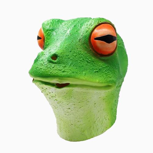 PartyHop - Frog Mask - Latex Halloween Animal Full Head Latex Adult Kids Mask Green