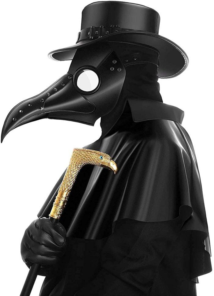 PartyHop PU Leather Plague Doctor Mask, Halloween Long Nose Bird Beek Steampunk Gas Latex Face Mask