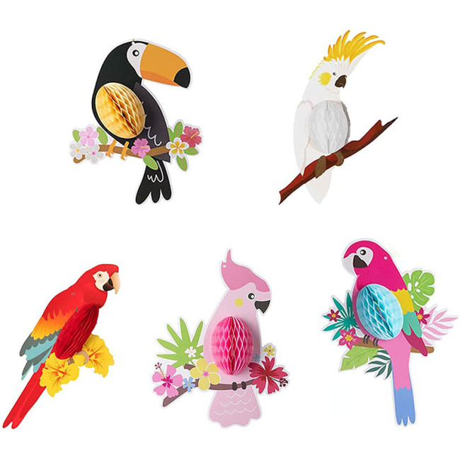 Tropical Birds Parrot Decorations Tiki Hawaiian Themed Party Ornaments Hanging Paper Cardboard