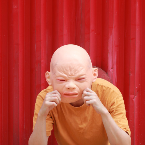 CreepyParty Crying Baby Face Mask Human Realistic Latex Full Head Masks