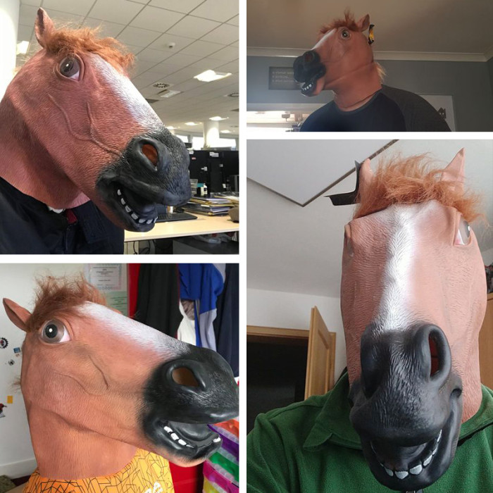 CreepyParty Horse Mask Realistic Animal Full Head Latex Mask for Halloween Carnival Costume Party