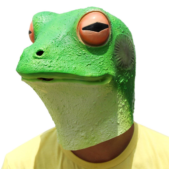 PartyCostume - Frog Mask - Halloween Costume Latex Animal Full Head Latex Adult Kids Mask