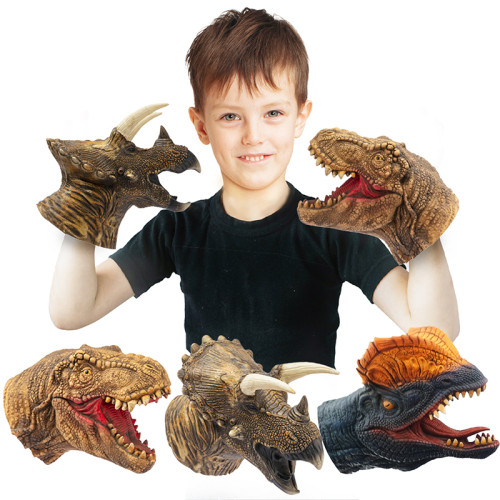 CreepyParty Dinosaur Hand Puppets Dino Toys Latex Raptor Realistic Puppet Pack of 3