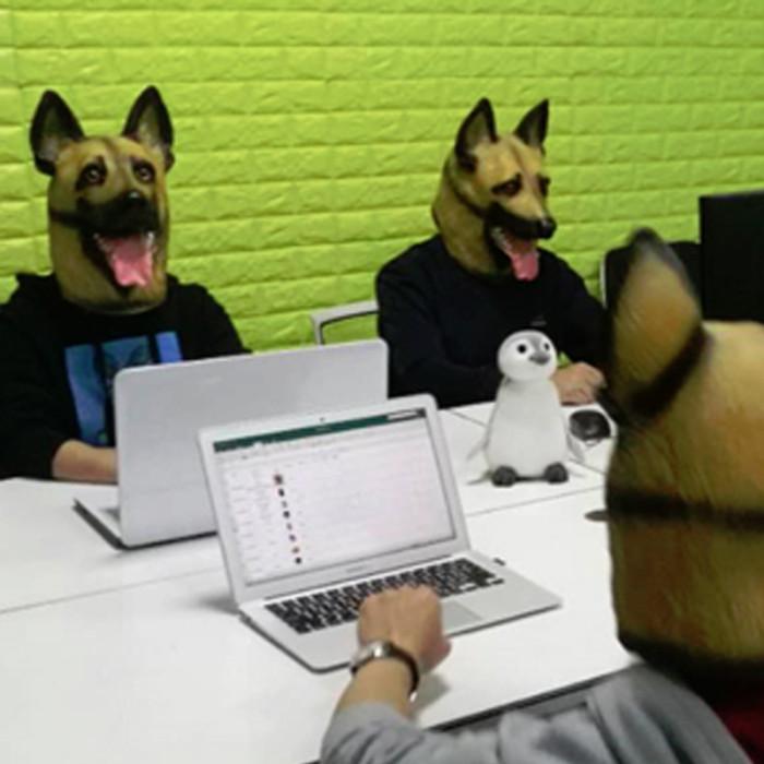 CreepyParty German Shepherd Dog Head Mask Latex Realistic Animal Head for Halloween